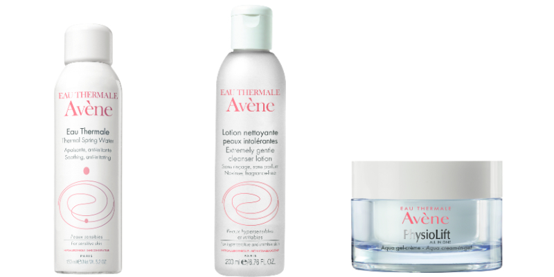 Avène Thermal Spring Water, Extremely Gentle Cleanser Lotion and PhysioLift Aqua Cream-in-Gel.