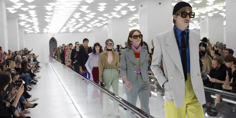 Gucci Defies Conventions (Again) Sending Out Models On Travelators For SS20 Show