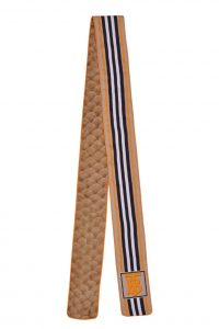 BURBERRY Monogram, Icon Stripe and Fish-scale Print Silk Skinny Scarf (1)