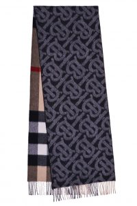 BURBERRY Reversible Check and Monogram Cashmere Scarf Black