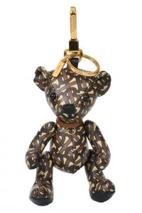 BURBERRY Thomas Bear Charm in Monogram Print Leather