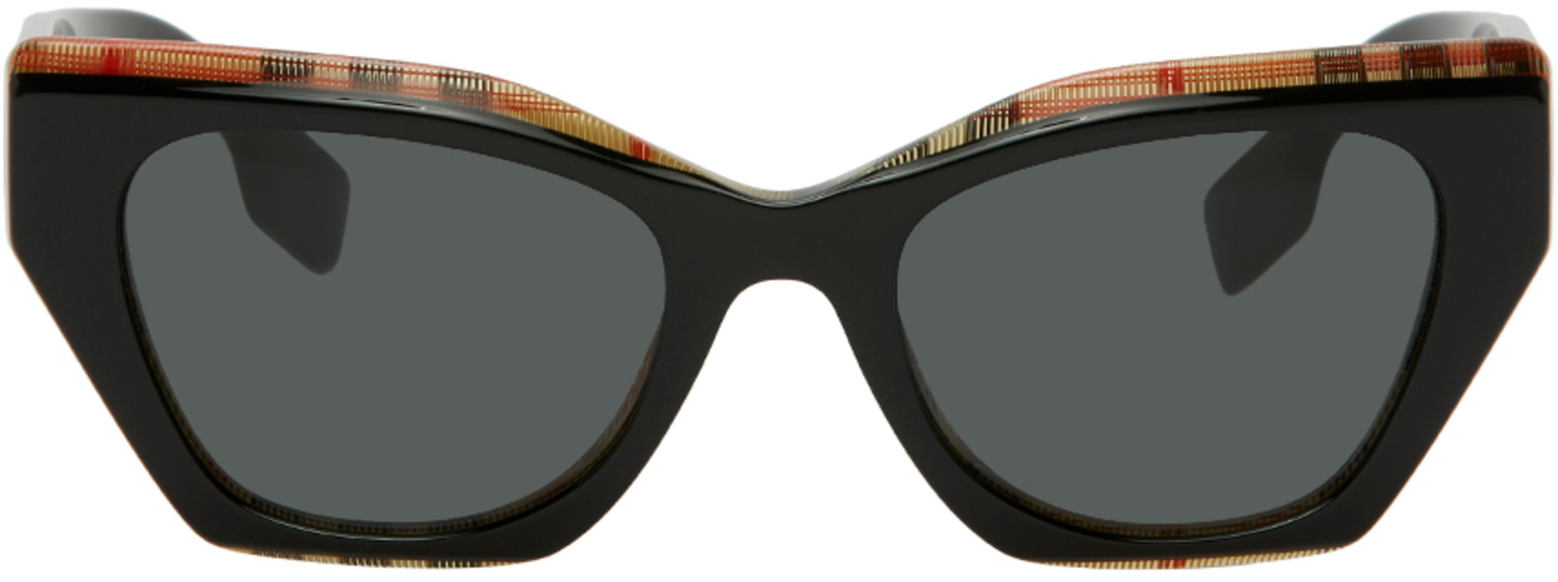 Burberry — Black Check Cat-Eye Sunglasses