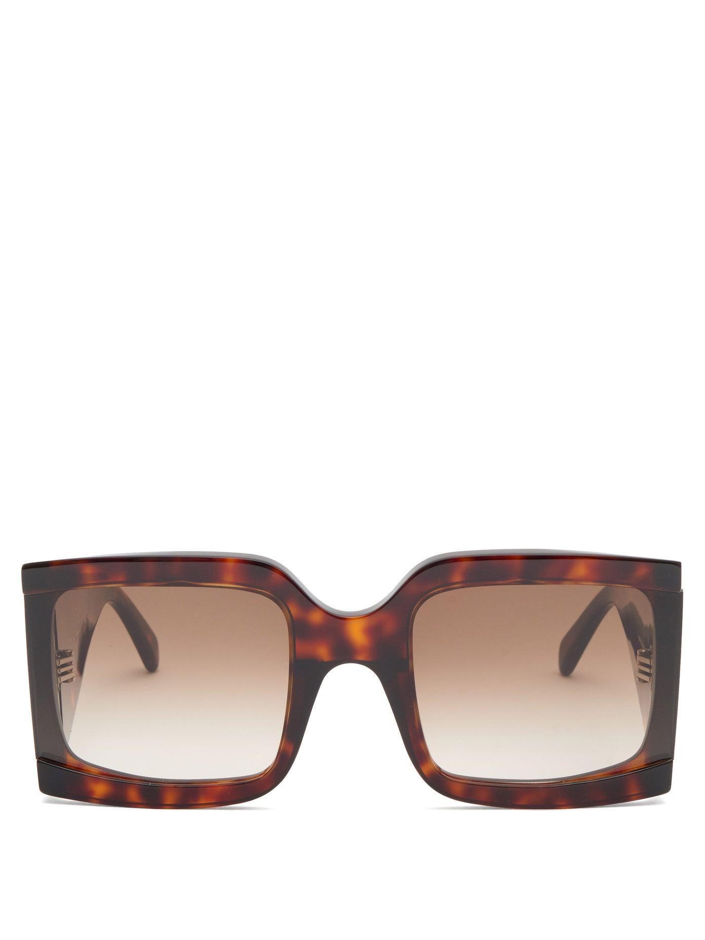 Celine — Oversized Squared Tortoiseshell Sunglasses