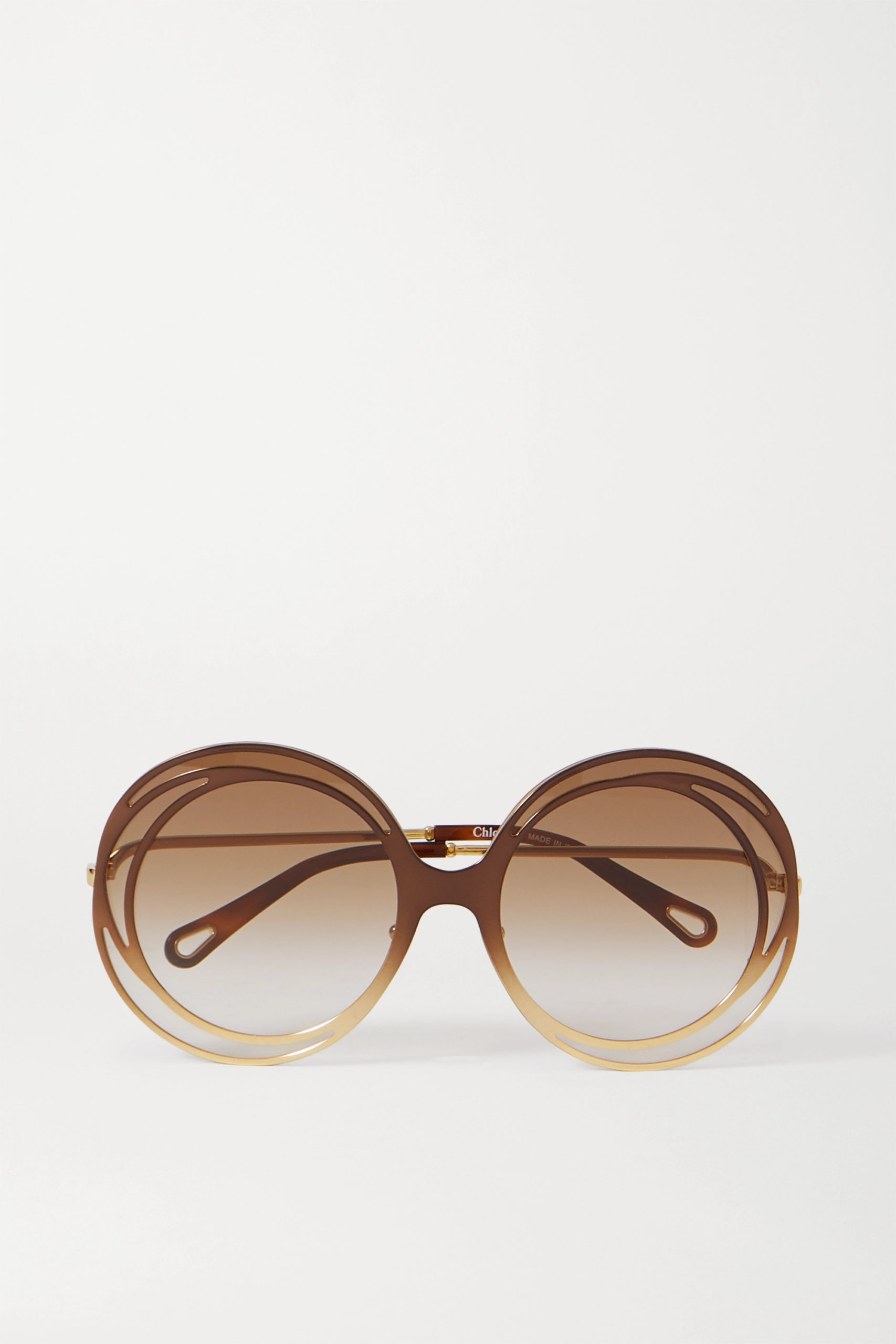 Chloe — Carlina Oversized Round-frame Acetate And Gold-tone Sunglasses