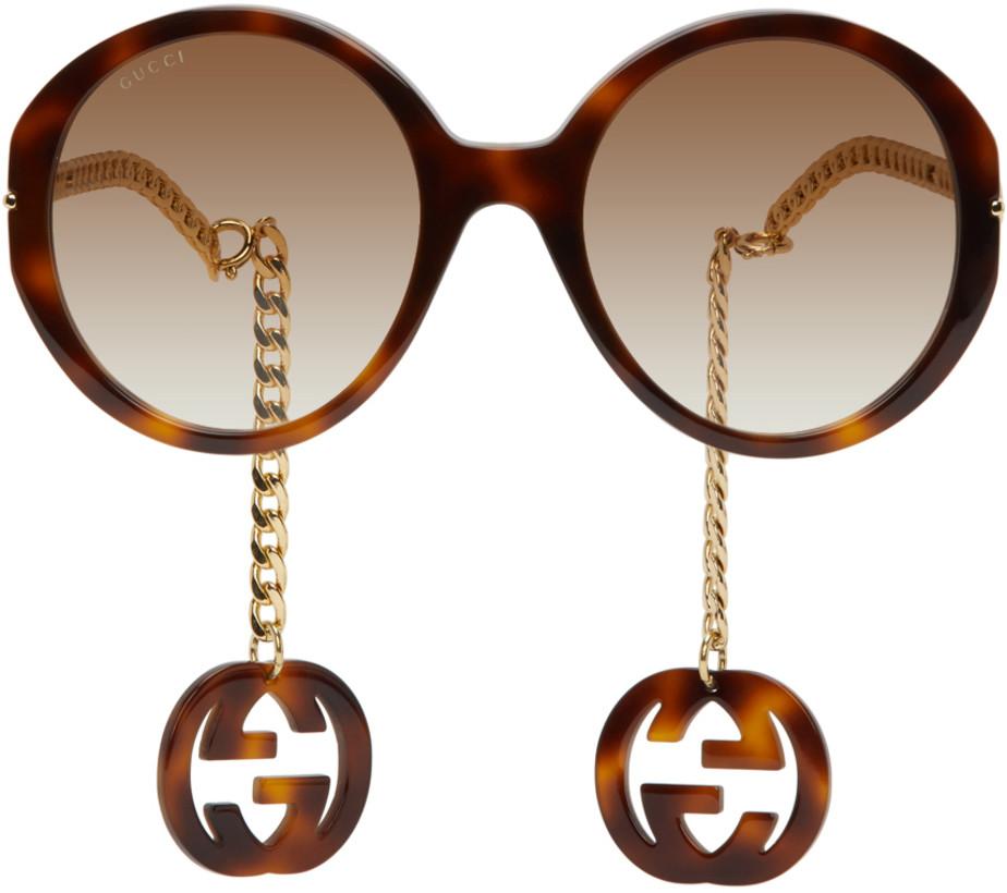 Gucci — Tortoiseshell & Gold GG0726S Sunglasses