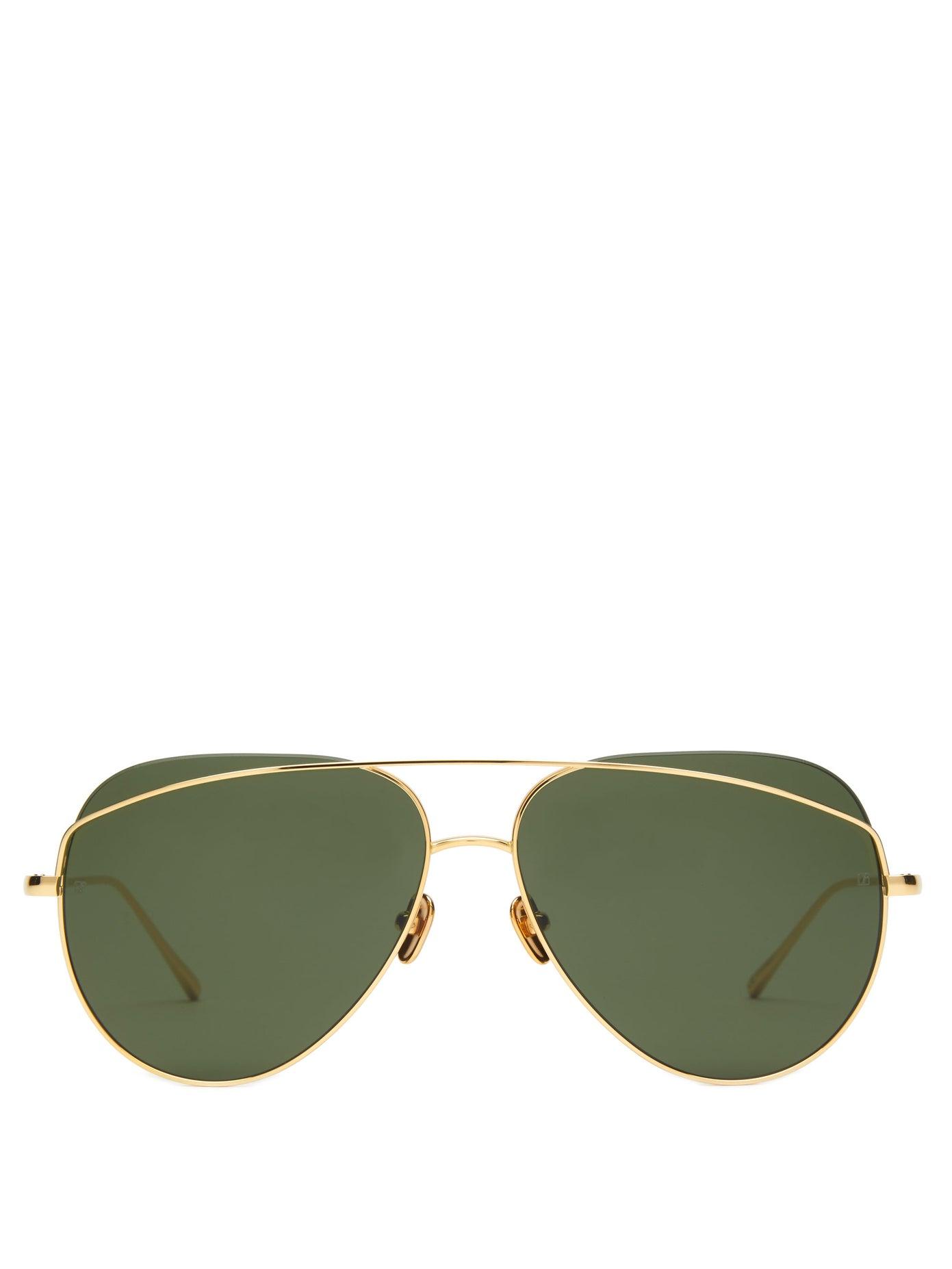 Linda Farrow — Aviator Metal Sunglasses