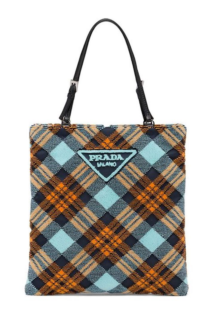 Prada, Plaid Velvet Handbag